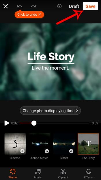 so erstellen sie einen videoclip aus bildern und musik in Android