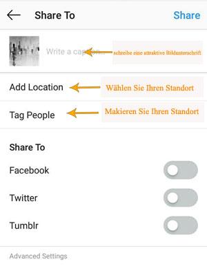 Wie Sie Post (Fotos und Videos) in der Instagram-App senden