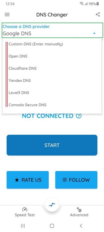 AndroidDNS-Server ändern mit DNS Changer App, Handy