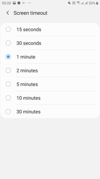 Bildschirm Timeout einstellen android, deaktivieren, ausschalten
