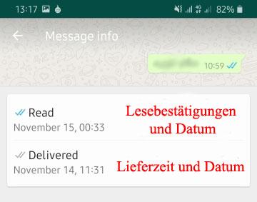 Zugestellt und gesehen Zeit für WhatsApp-Nachrichten Lesezeit