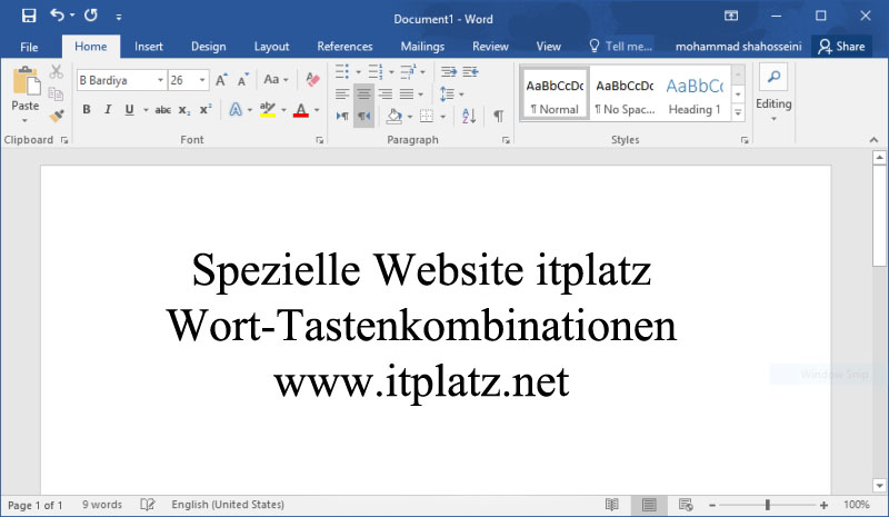 Wichtige Tastenkombinationen in Word, nützliche liste Microsoft